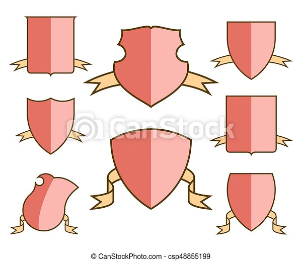 Heraldic escutcheons for coat of arms with ribbons set, shield templates, isolated vector - csp48855199