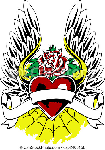 Heraldic Heart Wing Tattoo Emblem - csp2408156