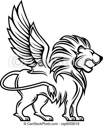 heraldic lion isolated lion with wings for heraldry design clip art rh canstockphoto com heraldic clip art drawing heraldic clip art drawing