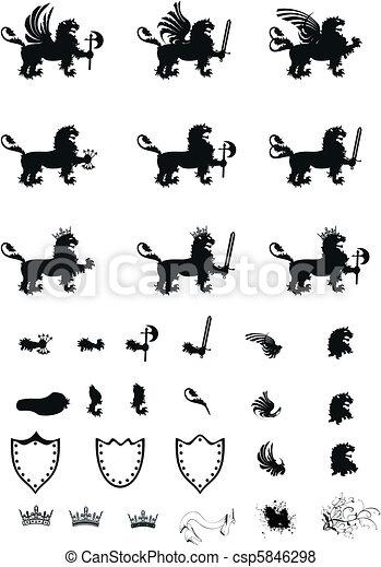 heraldic lion coat of arms set - csp5846298