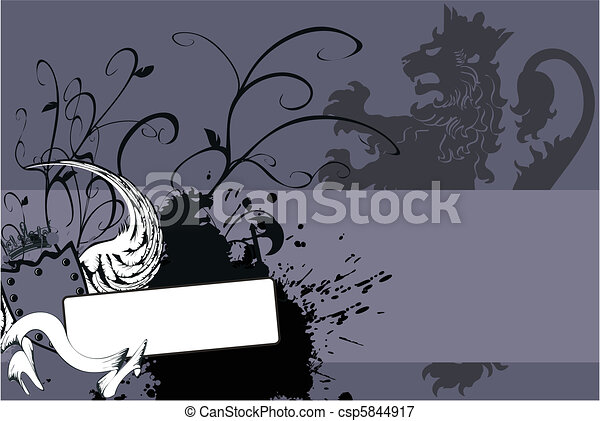 heraldic lion coat of arms6 - csp5844917
