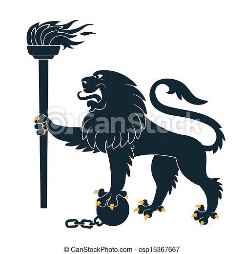 Heraldic lion  with torch - csp15367667