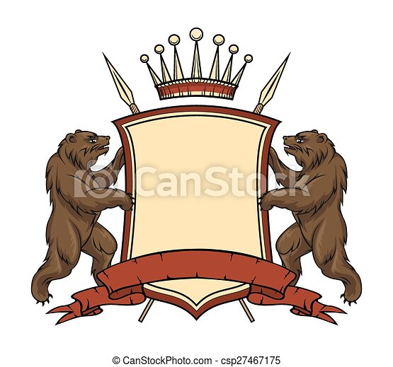 Heraldic logo element. Bears with shield and ribbon - csp27467175