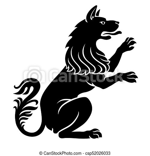 heraldic pet dog or wolf animal rampant standing on legs vectors rh canstockphoto com heraldic clipart heraldic clipart