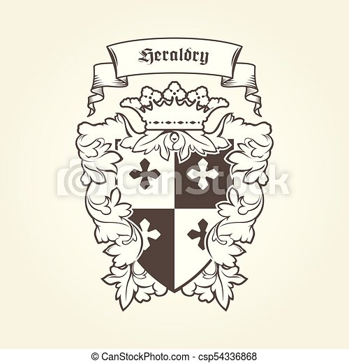 Heraldic royal coat of arms with imperial symbols, shield, crown and banner - csp54336868