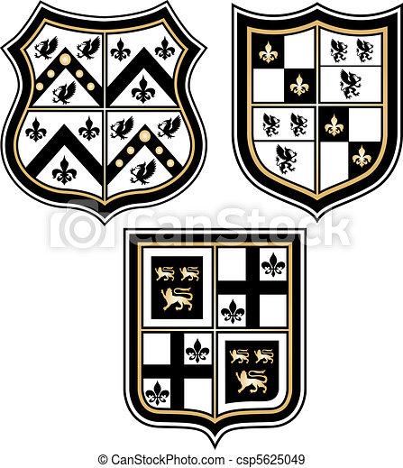 heraldic royal emblem badge shield  - csp5625049