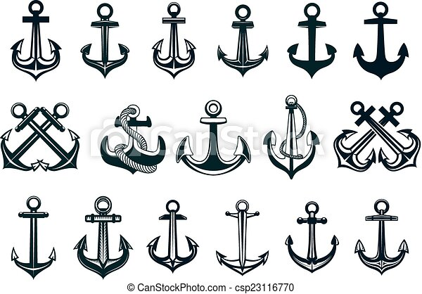 Heraldic set of ships anchor icons - csp23116770