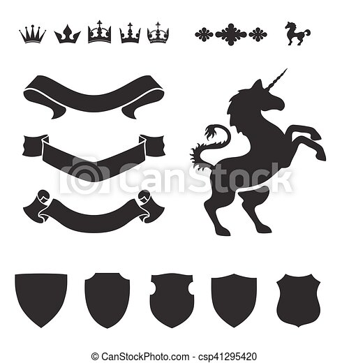 Heraldic Silhouettes For Signs And Symbols Safety Security