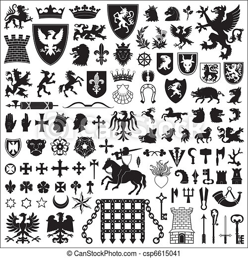 Heraldic Symbols And Elements Collection Of Old Coats Of Arms