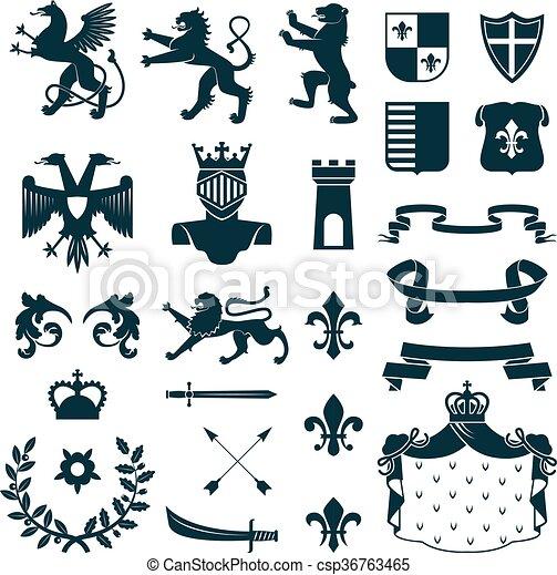 Heraldic Symbols Emblems Collection Black Heraldic Royal Symbols