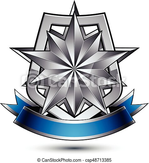 Heraldic vector template with polygonal silver star placed on a security  shield and decorated with blue wavy stripe, silver 3d royal geometric  blazon