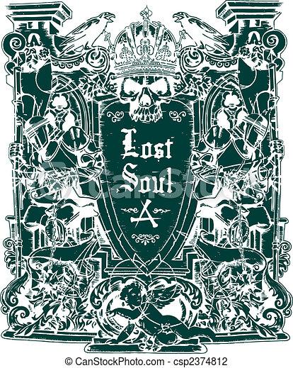 heraldisch, schild, schedel - csp2374812