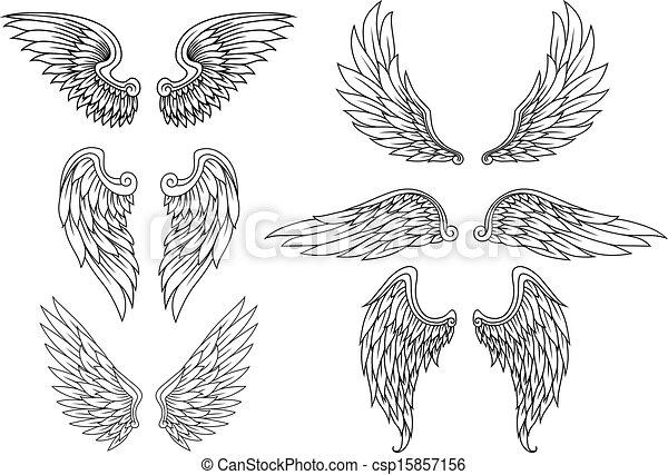 heraldisch, set, vleugels - csp15857156