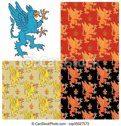 heraldisk, mystisk, figur, djur - csp35027573