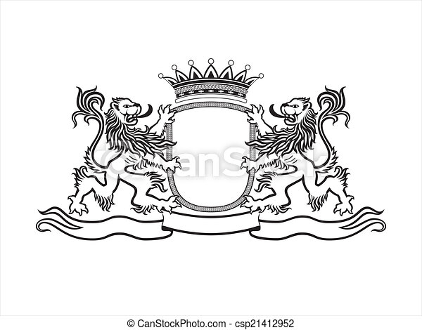 HERALDRY Crest with lions - csp21412952