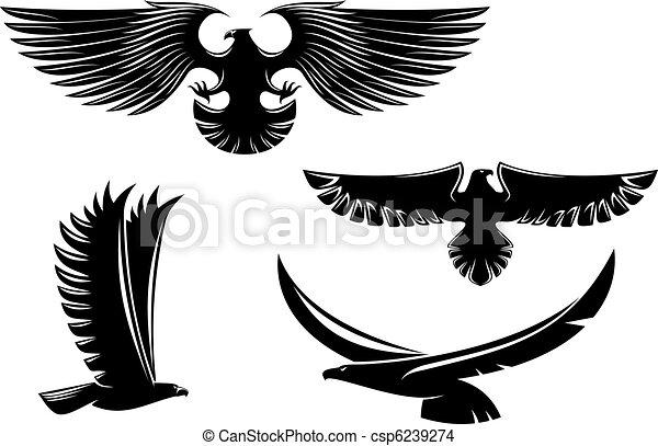 Heraldry eagle symbols and tattoo - csp6239274