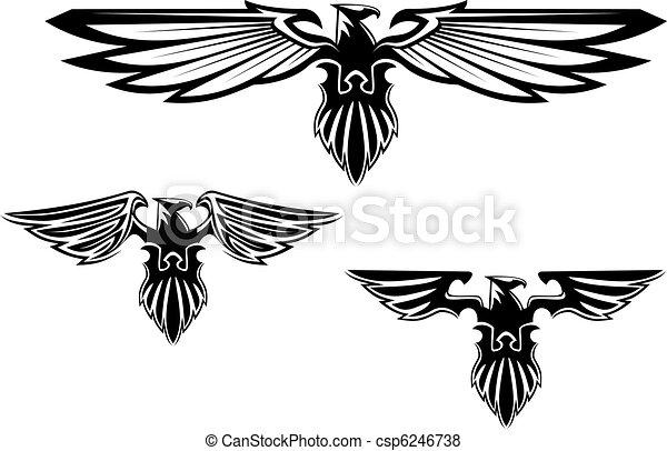Heraldry eagle symbols and tattoo - csp6246738