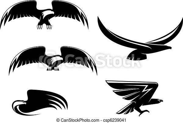 Heraldry eagle symbols and tattoo - csp6239041