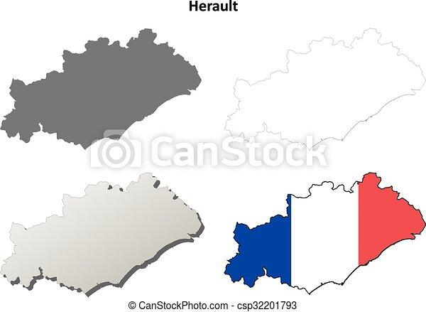 Detaille Carte Herault.Herault Ensemble Languedoc Roussillon Contour Carte