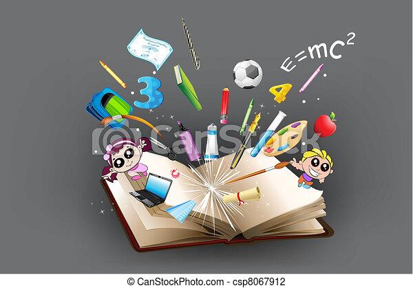 Bildungsobjekt, das aus dem Buch kommt - csp8067912