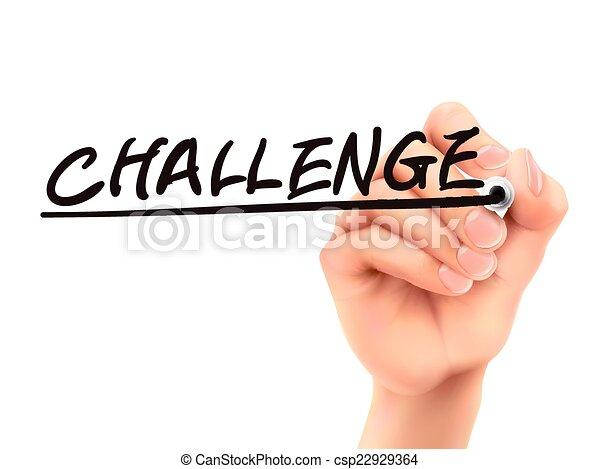 herausforderung, 3d, wort, geschrieben, hand - csp22929364