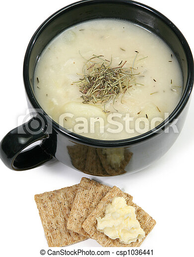 Herb Potato Soup and Crackers - csp1036441