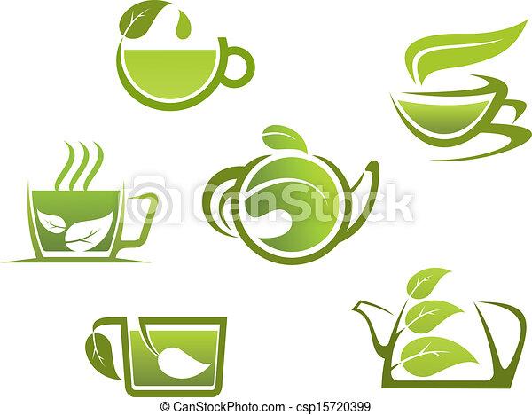 Herbal Drinks And Tea Symbols For Fast Food Design
