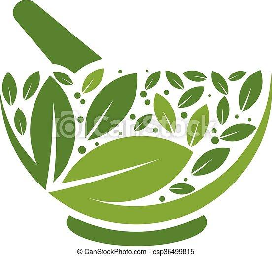 Herbal Mortar and pestle logo - csp36499815