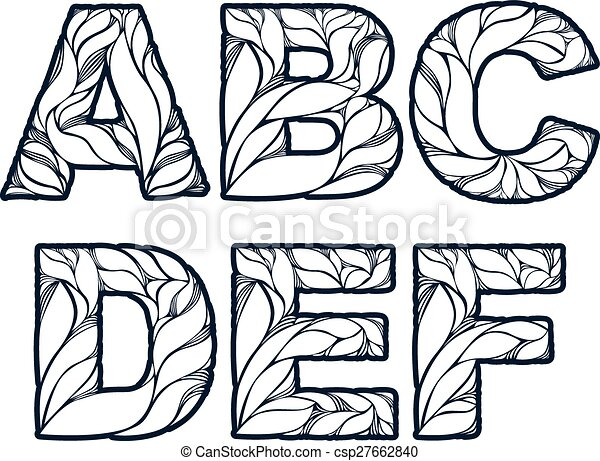 Herbal Style Single Color Beautiful Font Typeset With Floral Elegant Ornament A B C D E F Capital Letters