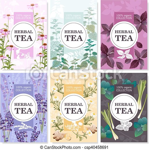 Herbal Tea Colored Banners Set - csp40458691