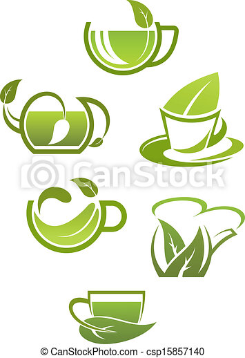 Herbal tea cups with green leaves - csp15857140