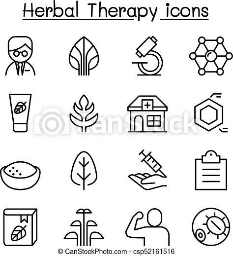 Herbal Therapy icon set in thin line style - csp52161516