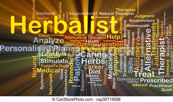 Herbalist background concept glowing - csp30719588