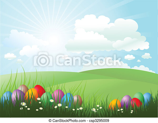 herbe pâques, oeufs - csp3295009
