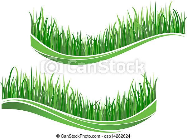herbe, vert, vagues - csp14282624