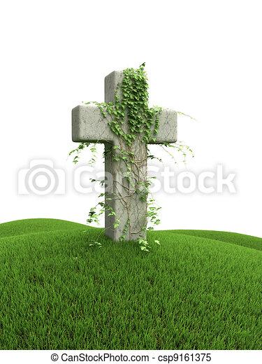 herboso, colina verde, cruz - csp9161375