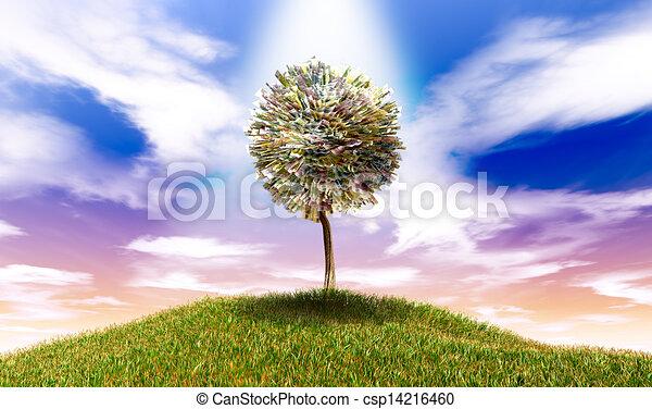 herboso, dinero, notas, árbol, estilizado, euro, banco, colina - csp14216460