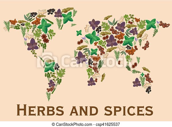 Herbs and spices flat icons in world map shape continents herbs and spices flat icons in world map shape vector gumiabroncs Images