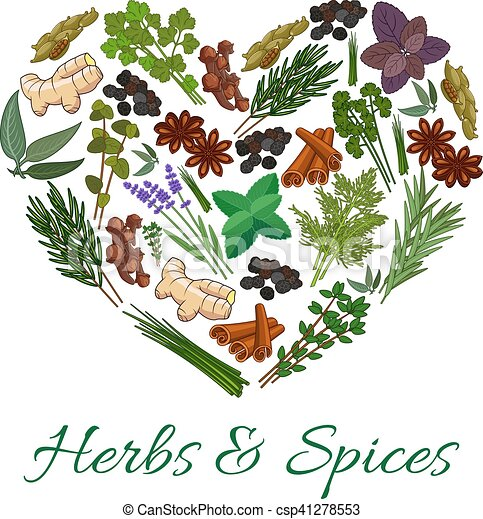 herbs and spices icons in heart shape emblem vector spicy rh canstockphoto com Spice of Life Clip Art Spice Container Clip Art