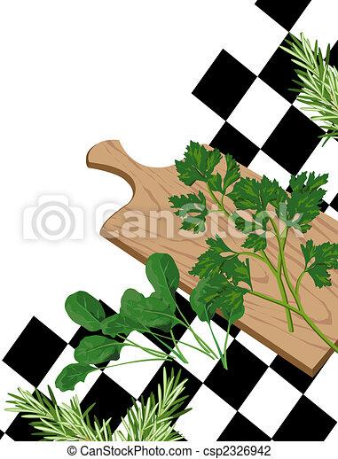 Herbs on cutting board - csp2326942