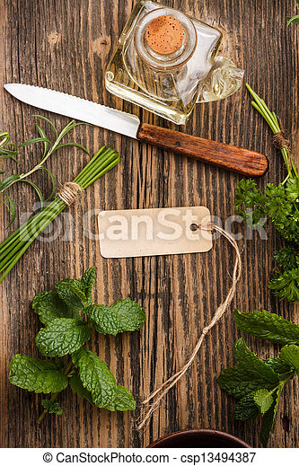 Herbs with label - csp13494387