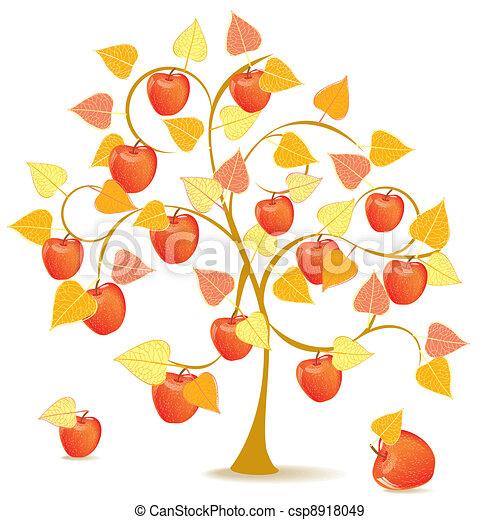 Herbst baum apfel gelber apfel jahreszeit abstrakt for Apfel basteln herbst