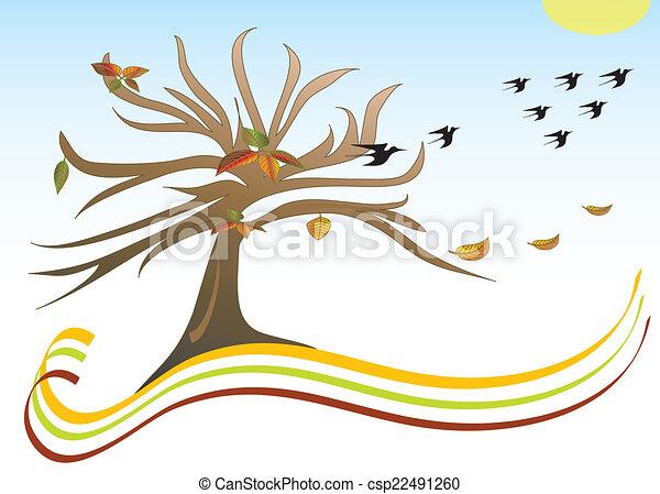 Herbst Motiv Lander Baum Abfahrt Thema Herbst Warm Vogel