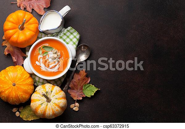 herbst, suppe, vegetarier, kã¼rbis, creme - csp63372915