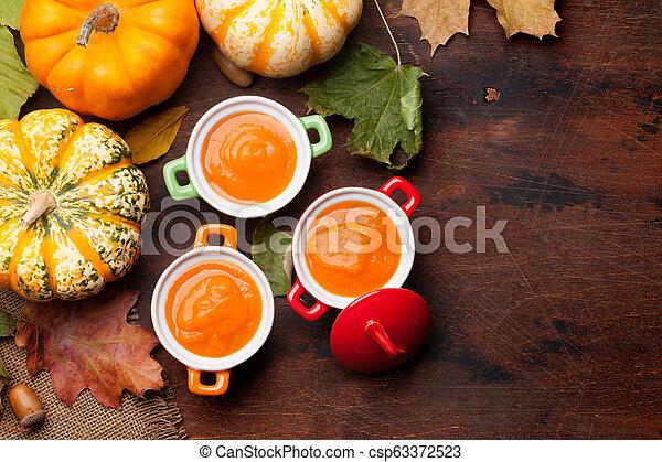 herbst, suppe, vegetarier, kã¼rbis, creme - csp63372523