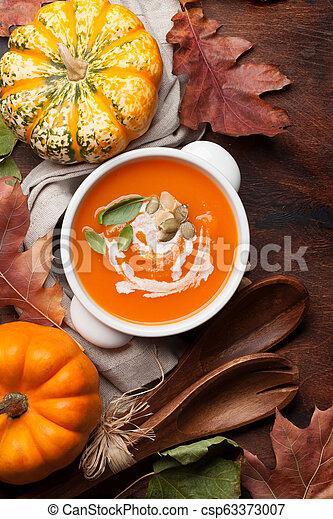 herbst, suppe, vegetarier, kã¼rbis, creme - csp63373007