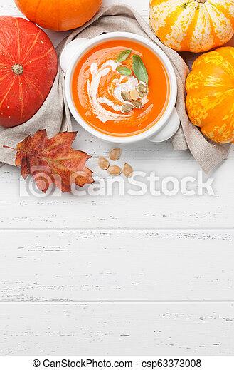 herbst, suppe, vegetarier, kã¼rbis, creme - csp63373008