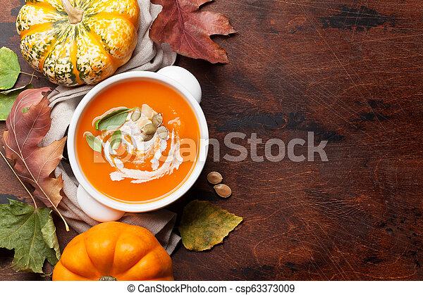 herbst, suppe, vegetarier, kã¼rbis, creme - csp63373009