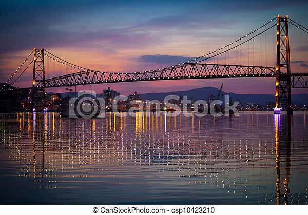 Hercilio Luz Bridge at Sunset - csp10423210
