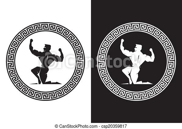Hercules and Greek Key back view - csp20359817